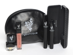 Younique's Exclusive Mini Collection. $50 Includes 3D Fiber Mascara, Luxe Lip Gloss, Angelic and Confident Mineral Pigments and a cute little bag.